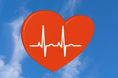 Heart in sky. Red heart on a white background. Pulse rate chart. Electrocardiogram. Prevention of heart disease as a 3D rendering stock image