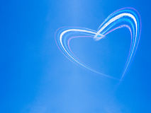 Heart in the sky. Heart shape from smoke in the sky stock photo