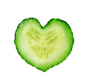 Heart from slice of cucumber