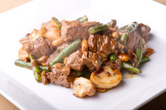 Heart smart asian food. Pan asian stir fry with beef, green beans, and peanuts Stock Images