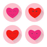 Heart smile face icon. Design color flat illustration with long shadow. Stock Photo