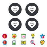 Heart smile face icons. Happy, sad, cry. Heart smile face icons. Happy, sad, cry signs. Happy smiley chat symbol Stock Photos