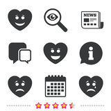 Heart smile face icons. Happy, sad, cry. Stock Images