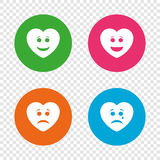 Heart smile face icons. Happy, sad, cry. Stock Photos