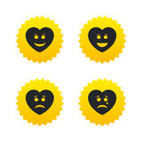 Heart smile face icons. Happy, sad, cry. Royalty Free Stock Image