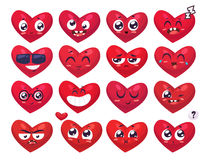 Heart Smiles set of characters. Vector cute cartoons Royalty Free Stock Photography