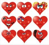 Heart Smiles to Valentine`s day. Set of nine vector heart smiles to Valentine`s day Royalty Free Stock Image