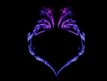 Heart of the smoke on a black background. Heart of blue smoke on black background Stock Photos