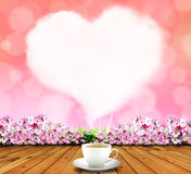 Heart smoke of coffee in sky pink Royalty Free Stock Images