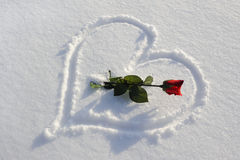 Heart in snow Royalty Free Stock Image