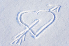 Heart on the snow Stock Photo