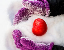 Heart in snow. Red heart in the snow royalty free stock photos
