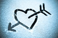 Heart in the snow Royalty Free Stock Image