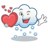 With heart snow cloud character cartoon Stock Photography