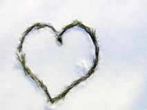 Heart in the snow. A declaration of love. Stock Photo