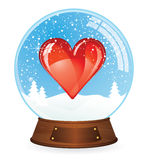 Heart in Snow globe Royalty Free Stock Photos