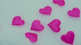 HEART ON SNOW. Valentine`s day. Two snow heart. Valentine`s day stock footage
