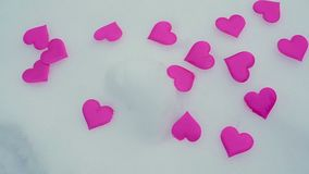 HEART ON SNOW. Valentine`s day. Two snow heart. Valentine`s day stock video footage