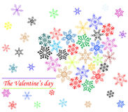 Heart from snowflakes. Valentine's day background Royalty Free Stock Photo