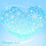 Heart with snowflakes background Royalty Free Stock Photo