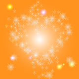 Heart of snowflakes on a bright winter background. Shiny background with stars and snowflakes in the shape of heart Stock Images