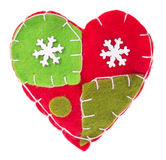 Heart with snowflakes fabric decoration on the tree Royalty Free Stock Photos