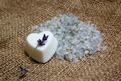 Heart Soap, Lavender Twig and Bath Salt on Jute Underlay. Useful as background. Natural shades of colors Royalty Free Stock Photography