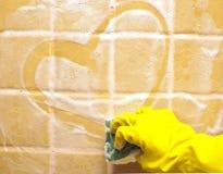 Heart on soap wall Stock Photo