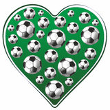 Heart and soccer ball Stock Images