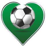 Heart and soccer ball Royalty Free Stock Images
