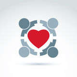 Heart and social medical and health organization icon, vector co Royalty Free Stock Photo