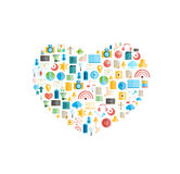 Heart social network with media icons background Stock Images