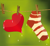 Heart and sock Stock Photography