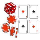 Heart, spade, clubs, diamond ace cards, dice and gambling chips Royalty Free Stock Photography