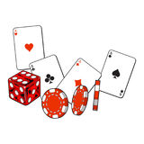 Heart, spade, clubs, diamond ace cards, dice and gambling chips Royalty Free Stock Images