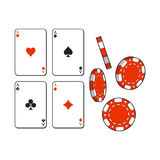 Heart, spade, clubs, diamond ace playing cards and gambling chips. Set of heart, spade, clubs, diamond ace playing cards and gambling chips, sketch vector Royalty Free Stock Photography