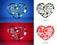 Heart spare parts car on the background. Heart spare auto parts for car on white red blue background. Set with many isolated items for shop or aftermarket, OEM Royalty Free Stock Photos