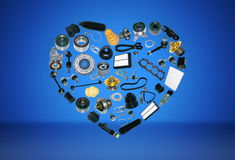 Heart spare parts car on the blue background. Heart spare auto parts for car on blue background. Set with many  items for shop or aftermarket, OEM Royalty Free Stock Photos