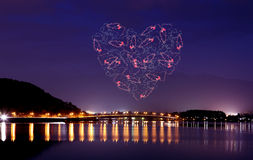Heart sparkle Fireworks celebrating over bridge of Lake Kawaguch Royalty Free Stock Photo