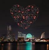Heart sparkle Fireworks celebrating over marina bay in Yokohama Royalty Free Stock Photography