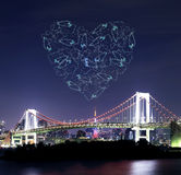 Heart sparkle Fireworks celebrating over Tokyo Rainbow Bridge at Royalty Free Stock Images