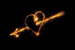 Heart from sparks Stock Photography