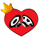 Heart and speaker. Crown and heart. Stock Photos