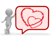 Heart Speech Bubble Means Valentines Day And Discussion 3d Rendering Stock Photo