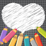 Heart speech bubble with pencils. Dark checkered background. Vector illustration. Place for text stock illustration