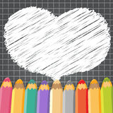 Heart speech bubble with pencils. Dark checkered background. Stock Photo