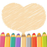 Heart speech bubble with pencils. Stock Images