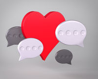Heart and speech bubbles Royalty Free Stock Photos