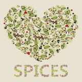 Heart from spices. Isolated heart from spices. Hand-drawn set of spice in heart shape. Food background. spices background. I love Spices. Hand-drawn spices heart Royalty Free Stock Images