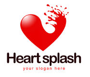 Heart Splash Logo. An illustration of a business company logo representing an abstract heart with a splash Stock Image